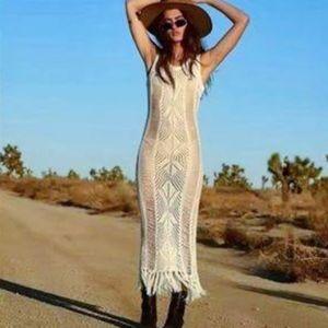 New BOHO Crochet Fringe Beach Dress Cover Up
